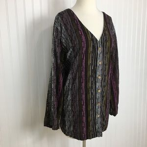 Roaman's plus sized long sleeve button up top 24W